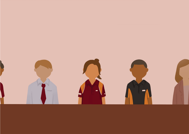 An illustration of different ASU employees standing side by side.