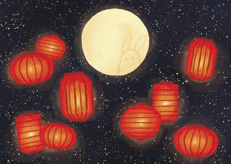 Lanterns in a sky.