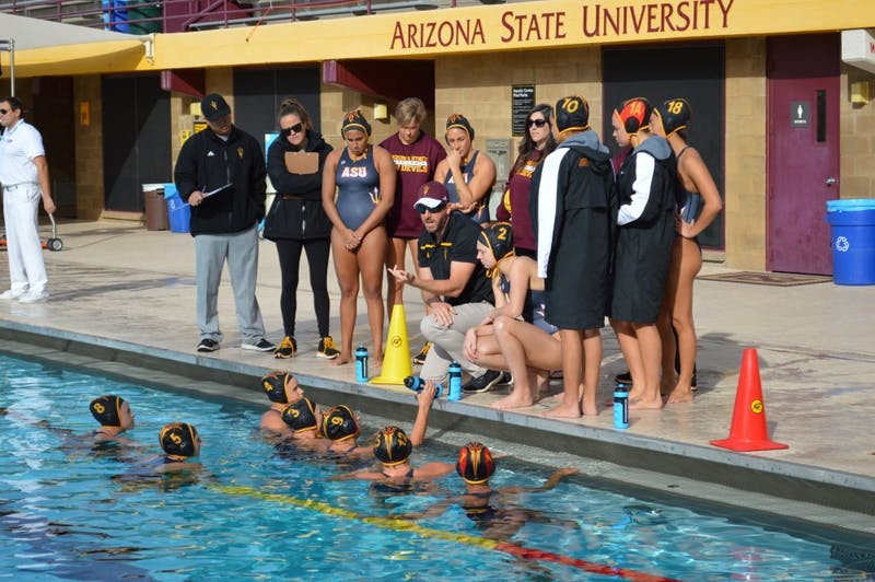 ASU water polo team plays Indiana in Tempe,AZ,Jan. 23rd, 2016