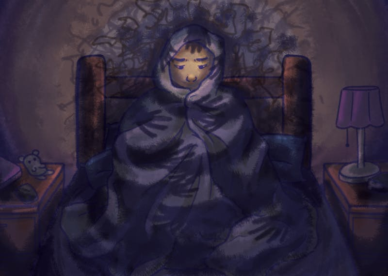 An illustration depicting the dark shroud of depression surrounding a student wrapped in blankets.