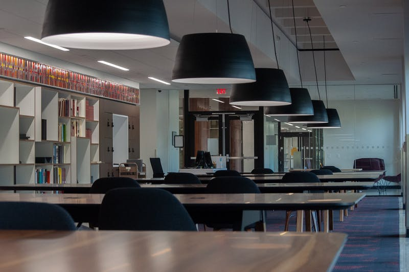 The Wurzburger Reading Room in Hayden Library is shown.