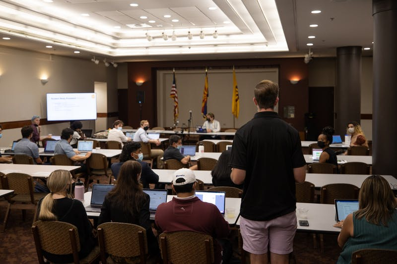 John Hopkins addresses the Undergraduate Student Government Senate