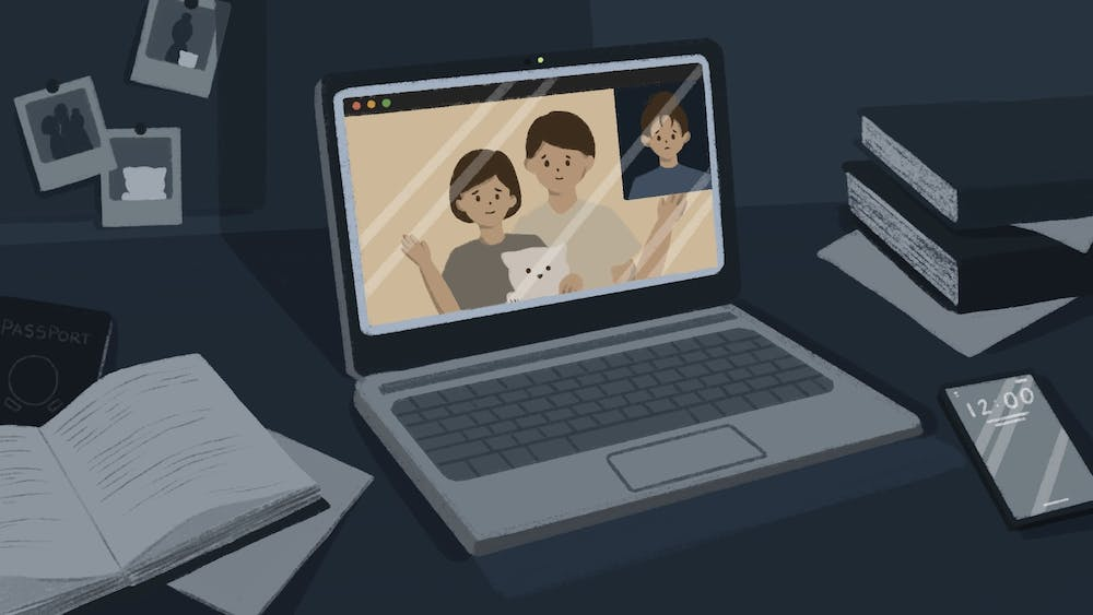 An illustration of an international student zooming with their family in a dark dorm.