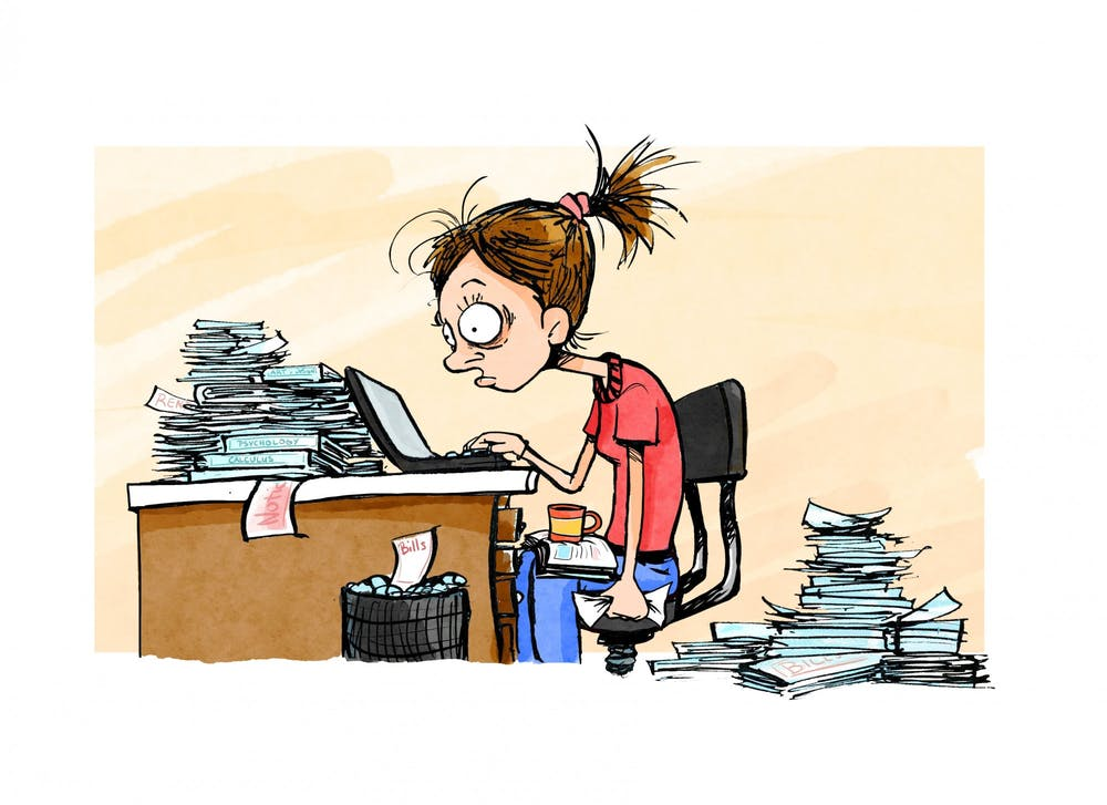 An illustration of a student overworked from working multiple jobs and assignments.