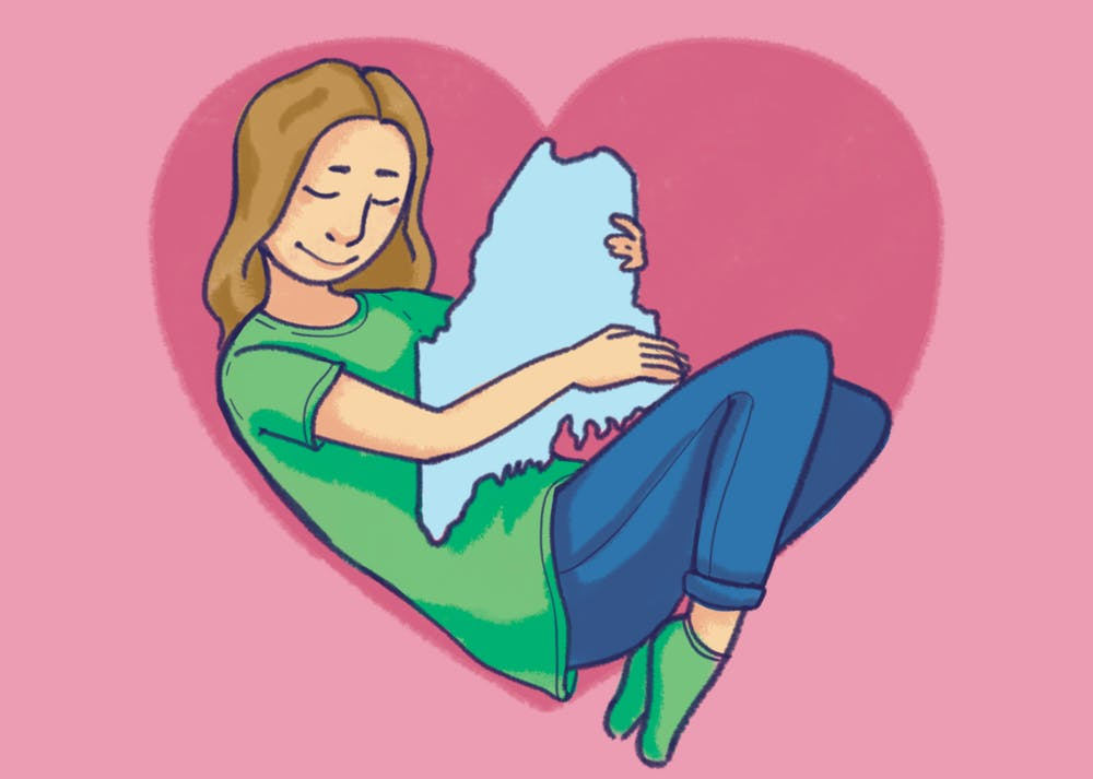 An illustration of the author holding the State of Maine in their arms inside of a heart, cause they miss home.