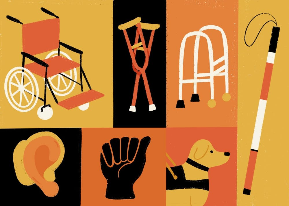 An illustration depicting disability, and the many tools people with disabilities use to help them.
