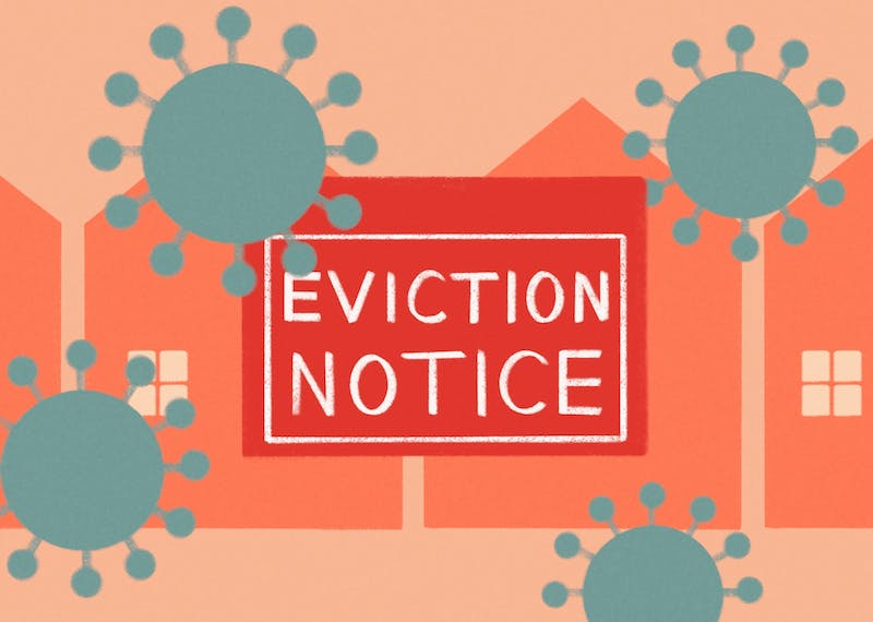 An eviction sign in front of houses, with COVID virus particles moving around it.