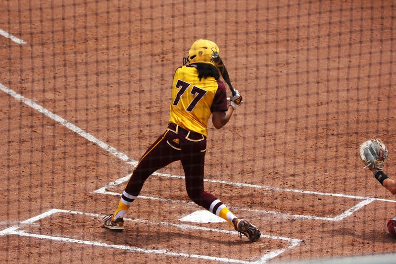 Jazmine Hill (77) bats against Stanford
