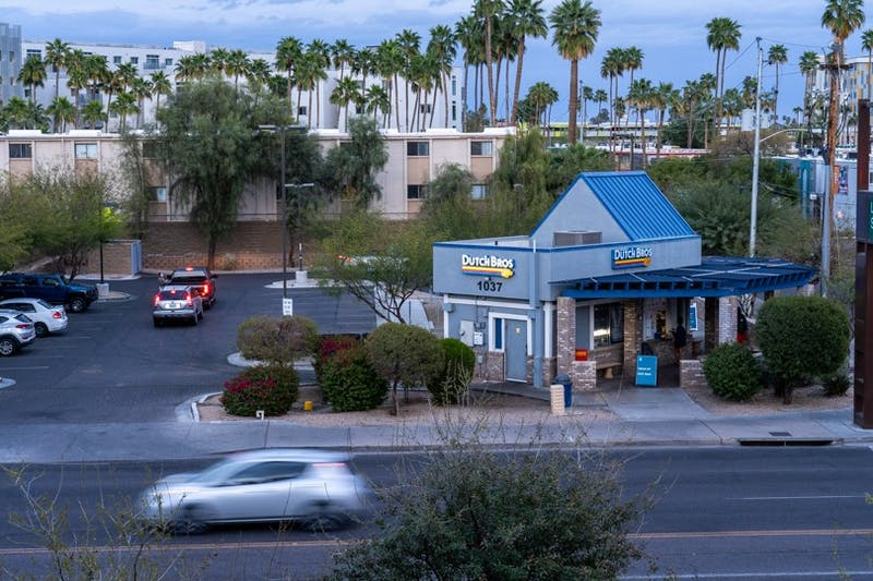 The Dutch Bros on Rural Road and Lemon Street is shown