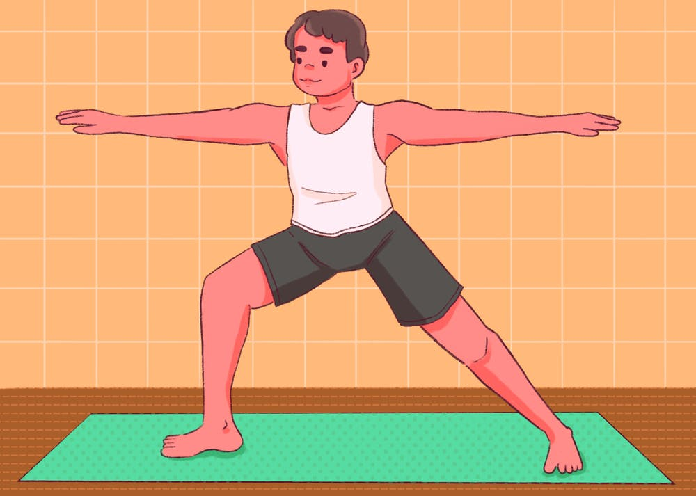An illustration of a man doing yoga.