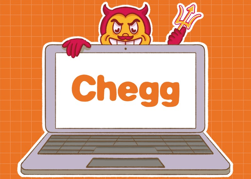 An illustration of ASU mascot Sparky eyeing a Chegg laptop.