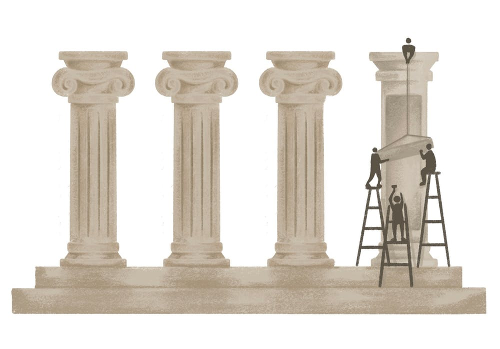 An illustration of figures building pillars.