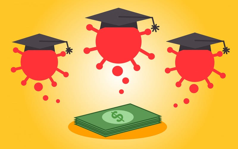 A bunch of COVID-19 viruses with university graduation caps near money from the American Rescue Plan Act.