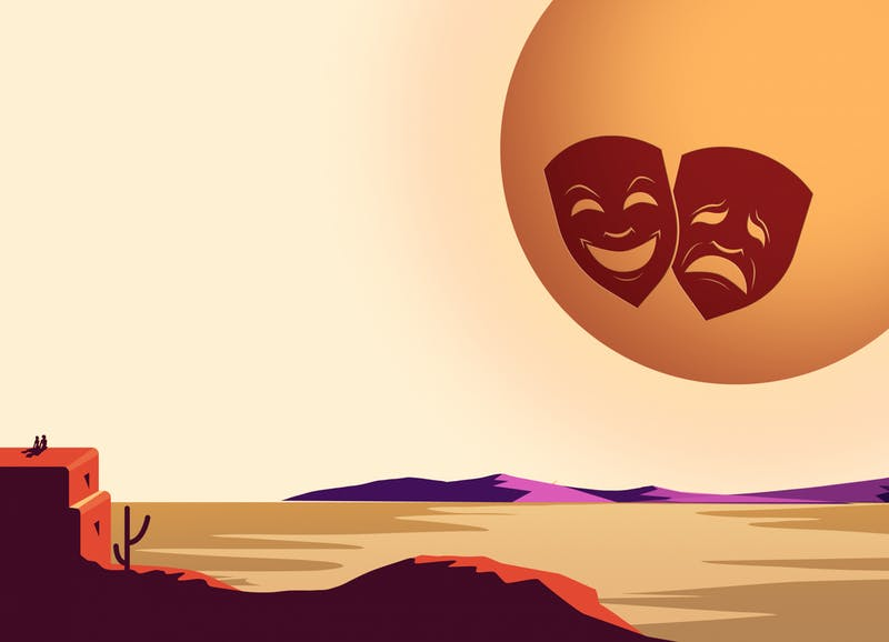 An illustration of the sun with comedy and tragedy face masks looking over a rural landscape, to shown the arts reaching rural communities through virtual field trips.