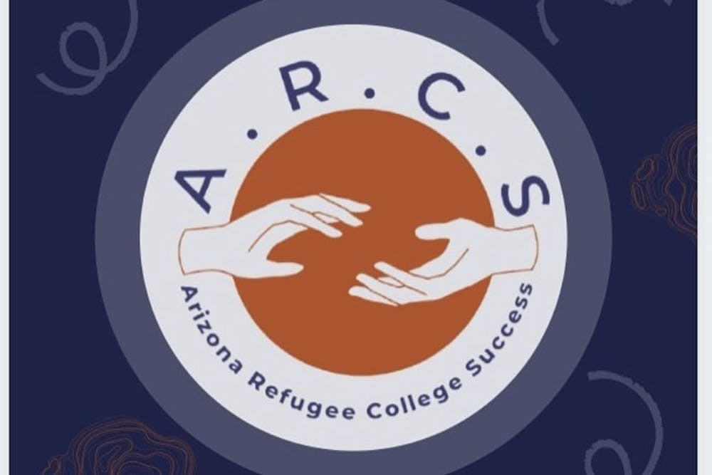 """Infographic with two hands reaching towards each other with the acronym """"A.R.C.S."""" above it and """"Arizona Refugee College Success,"""" below it."""
