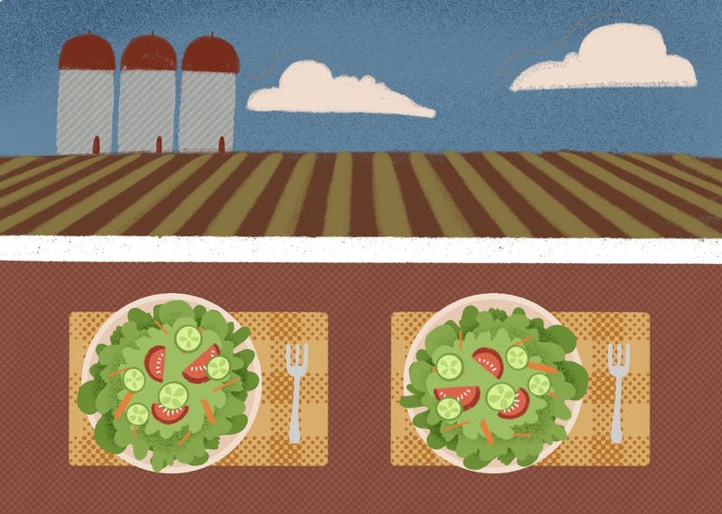 An illustration of a farm and plates at home filled with food.