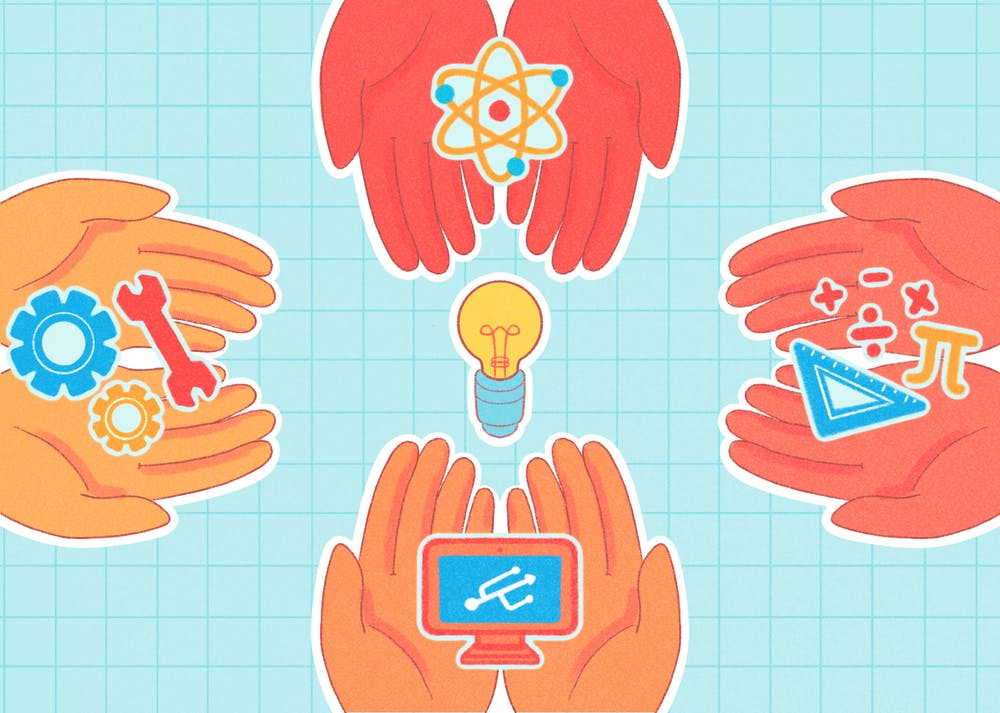 An illustration of diverse hands hold STEM symbols.