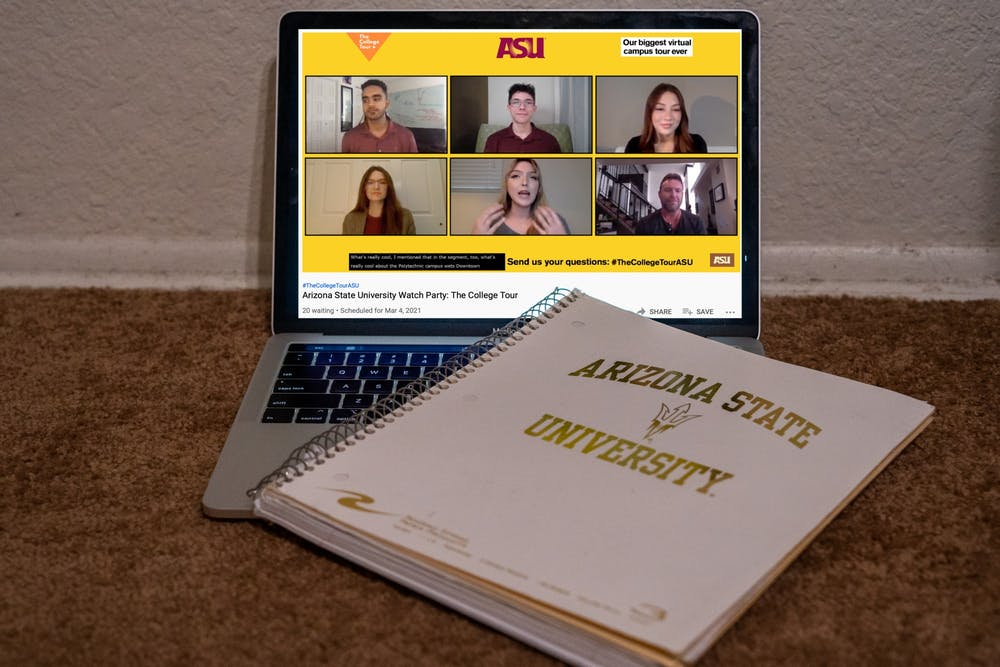 A photo illustration showing a laptop playing the ASU Watch Party for The Campus Tour is shown.