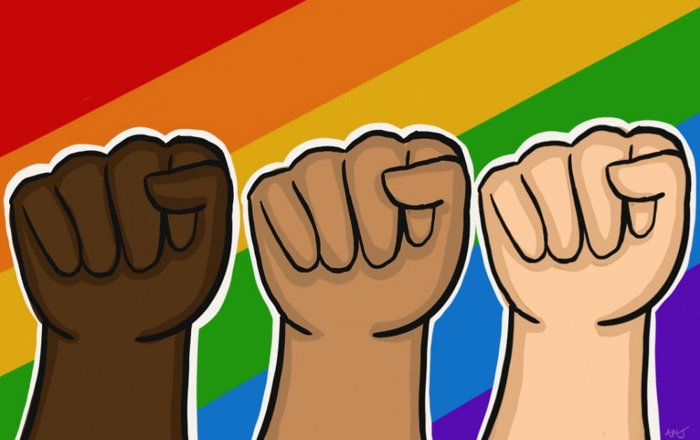 animated Picture of three hands/LGBTQ+ community