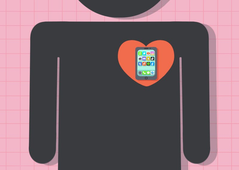 A drawing of a stick figure with a phone in their heart.