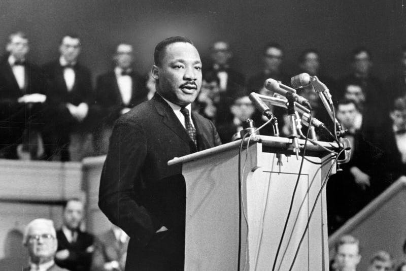 Martin Luther King, Jr. addresses Orchestra Hall in Chicago