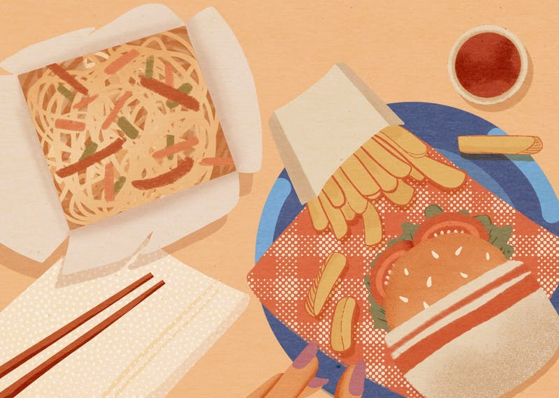 An illustration of some ramen take-out, a hamburger and french fries.