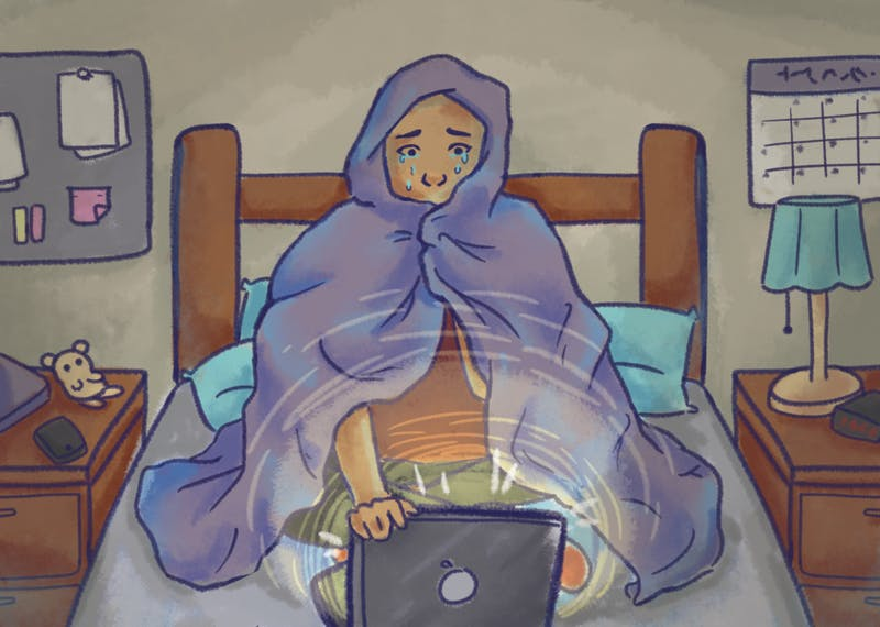An illustration of a student huddled in a blanket, watching a movie and crying.