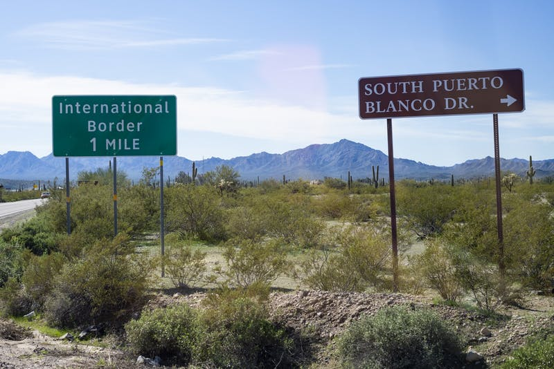 A sign showing the distance to the U.S.-Mexico border near Organ Pipe Cactus National Monument in Arizona.