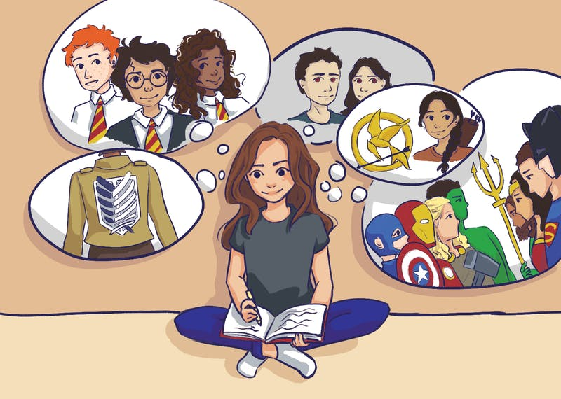 An illustration of a woman writing fan-ficition with images of her favorite characters.