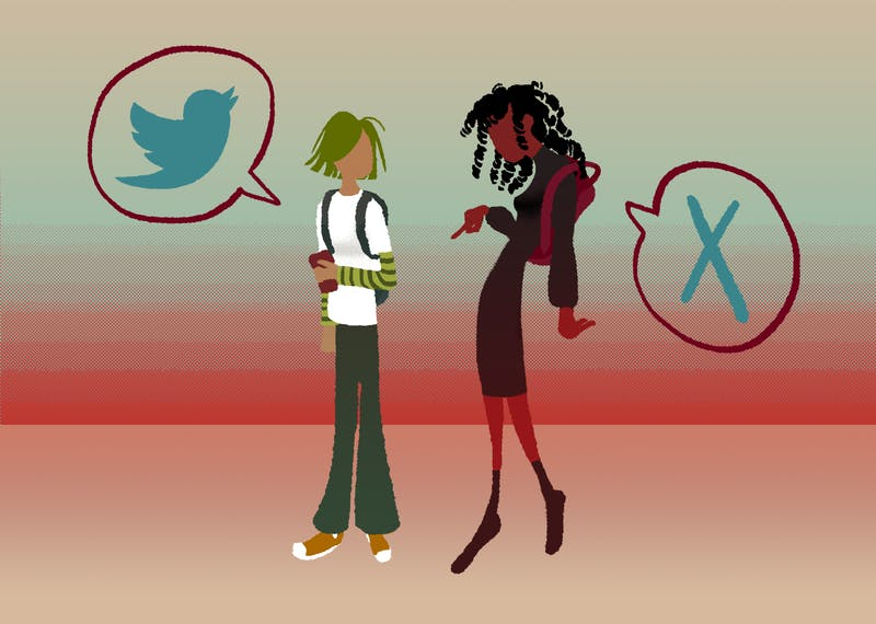 An illustration of a student looking at twitter while another student informs them of misinformation.