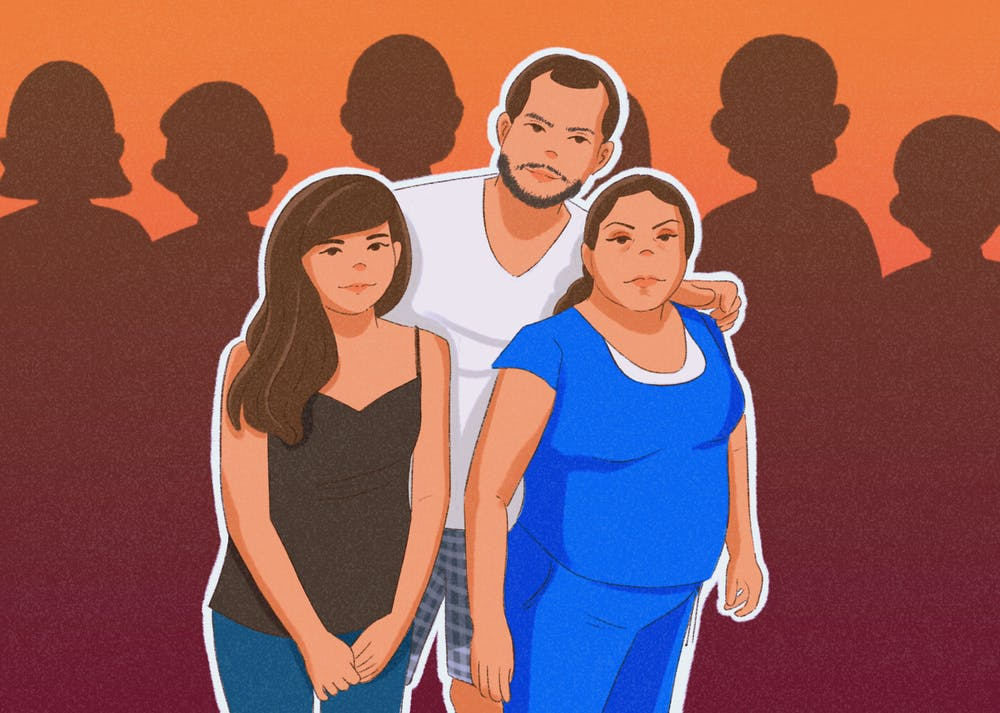 An illustration of the author Joycelyn Cabrera with her family.
