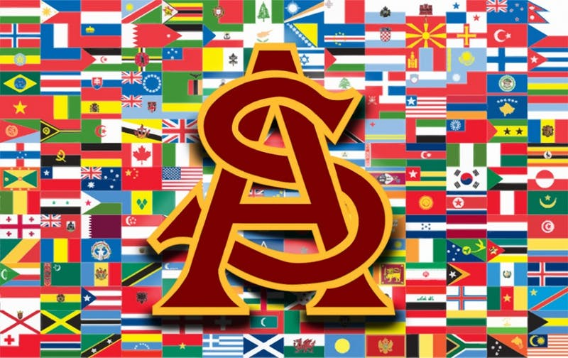 """ASU is home to a diverse community made up of students from all over the world."" Graphic published on Thursday, Feb. 1, 2018."