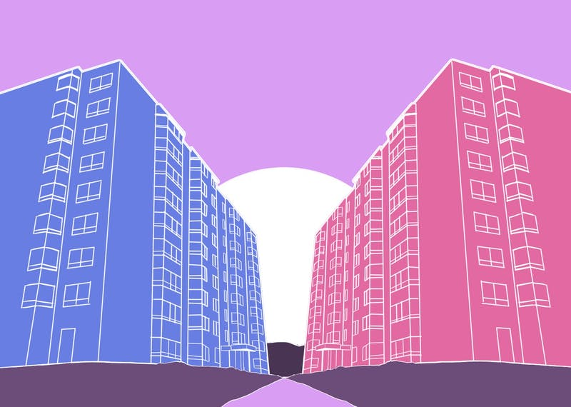 Blue and pink buildings stand under a purple sky.