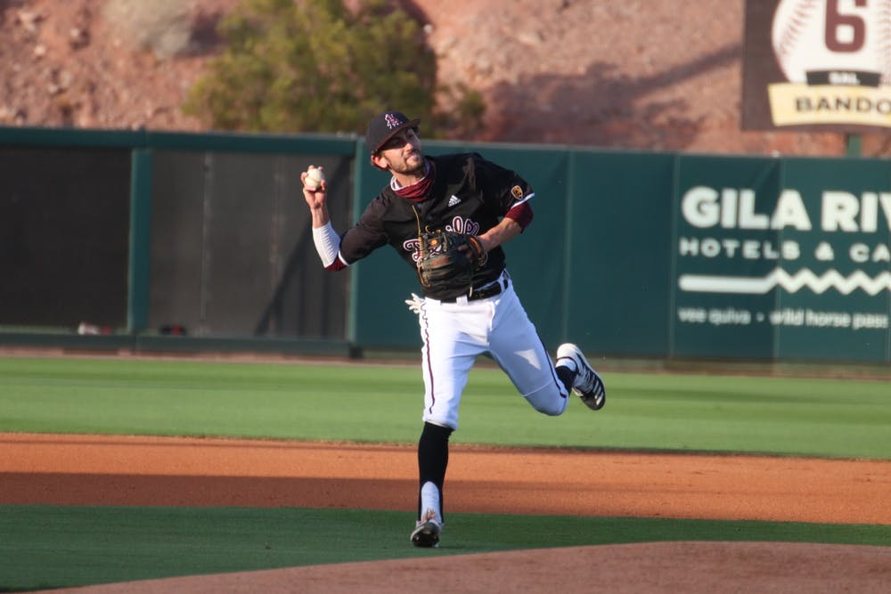 Drew Swift (6) throws to first base