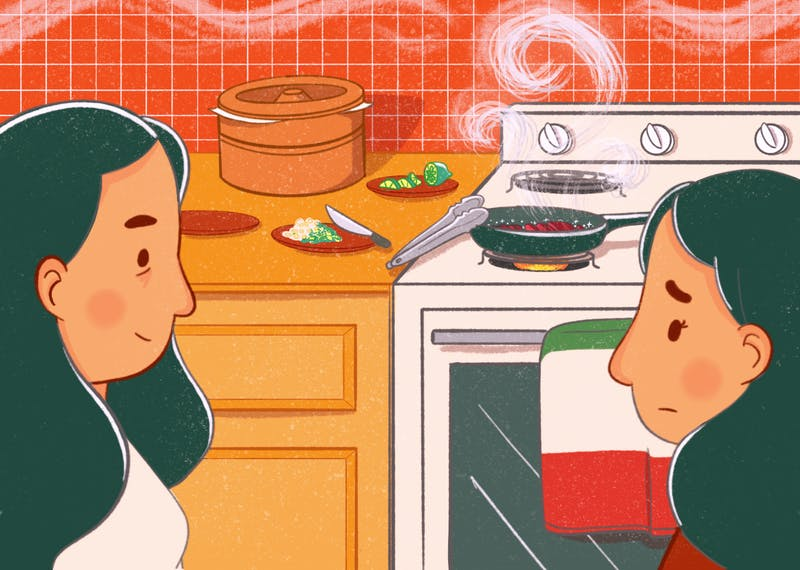 An illustration of a mother and daughter in a kitchen cooking Mexican food.