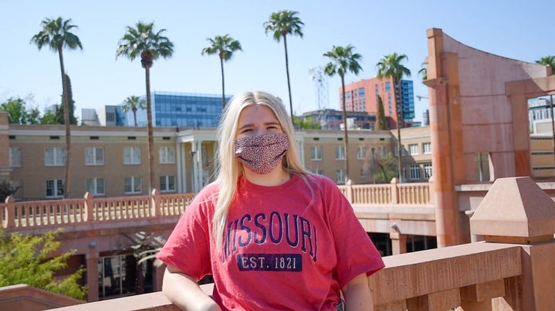 Rachel Williams, President of the Panhellenic Council, poses for a portrait outside of Hayden Library in Tempe on Wednesday, Sept. 9, 2020.