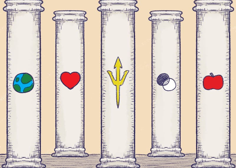 Five pillars are engraved with the earth, a heart, a pitchfork, one black and one white circle and an apple.