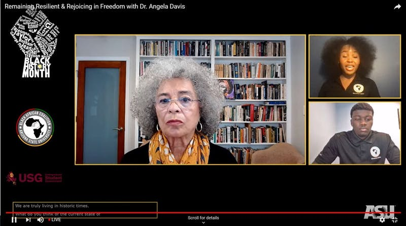 Angela Davis speaks with members from the Black African Coalition at ASU via zoom