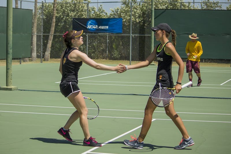 ASU Doubles pair of Ebony Panoho and Alexandra Osborne celebrate
