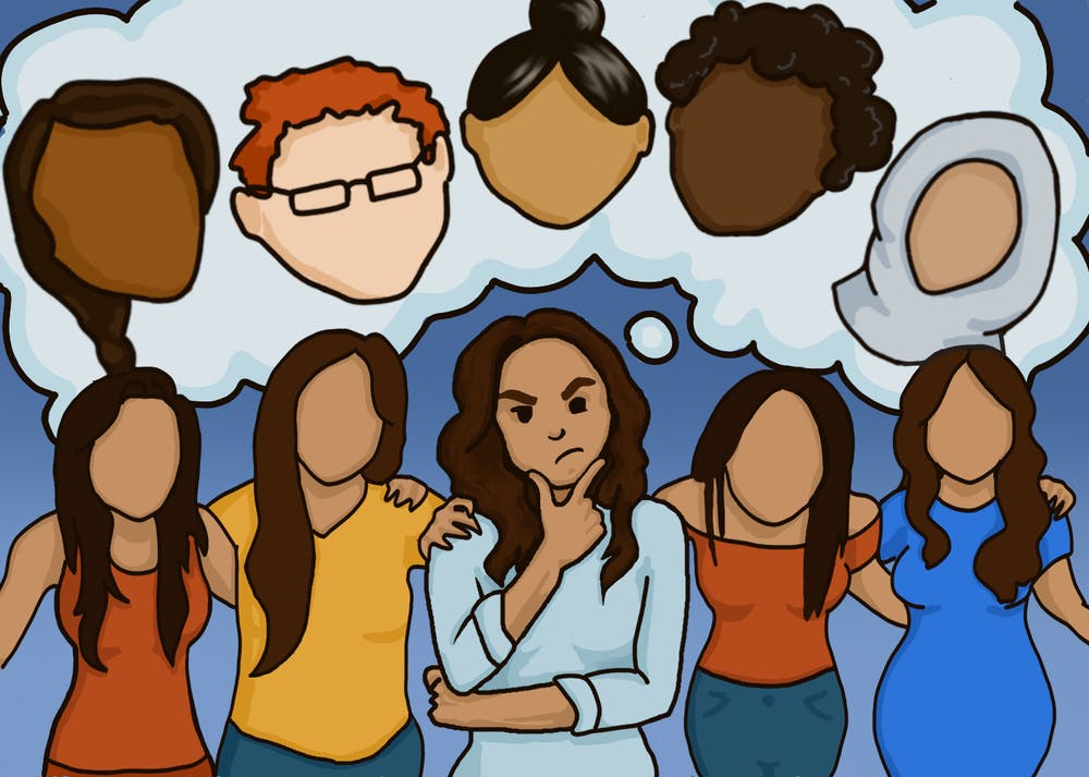A woman is surrounded by people identical to herself but is thinking about people different from herself.
