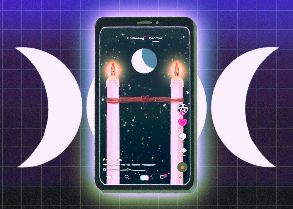 An illustration of a phone exploring witch tiktok.