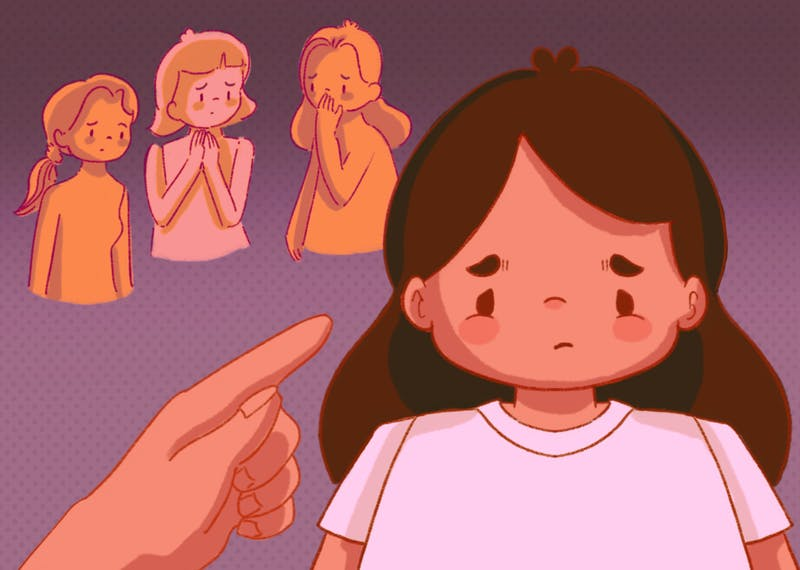 An illustration of a child being scolded by her parents as her friends watch