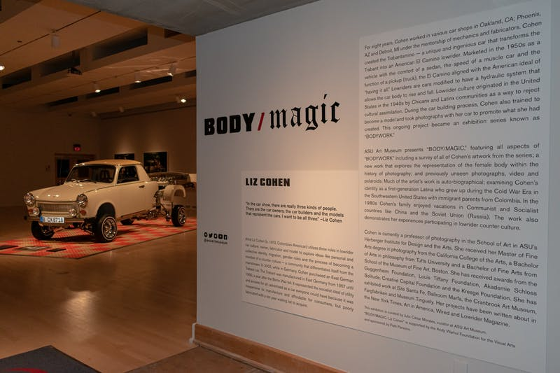 "The entrance Liz Cohen's ""Body/Magic"" art exhibit in the ASU Art Museum."
