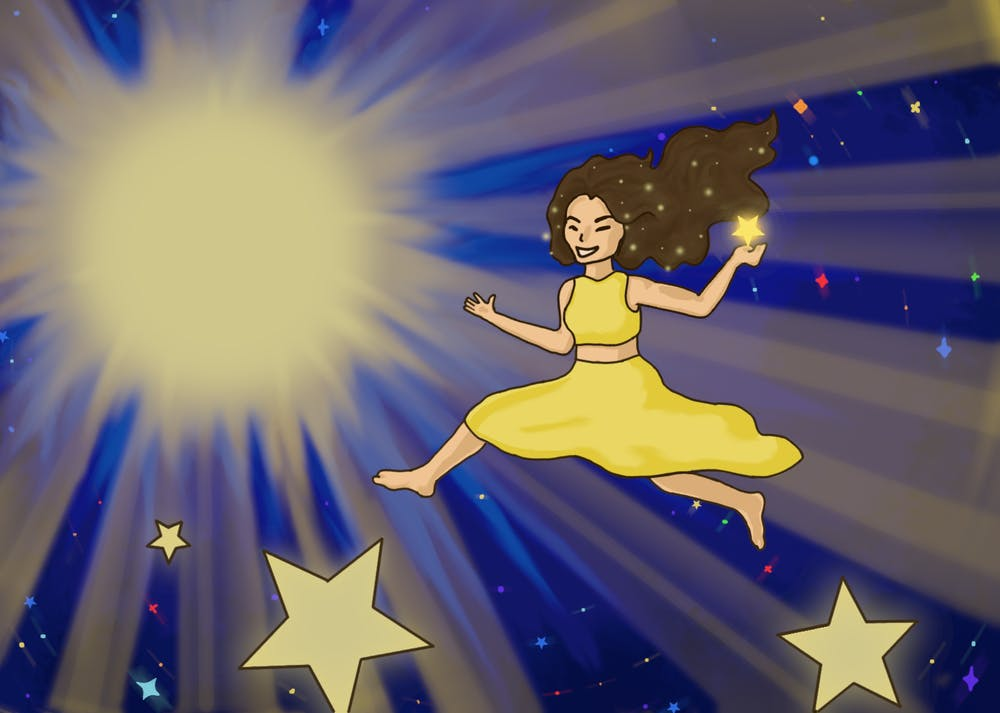 An illustration of Lorde, jumping from star to star in front of a sun, to illustrate her album Solar Power.