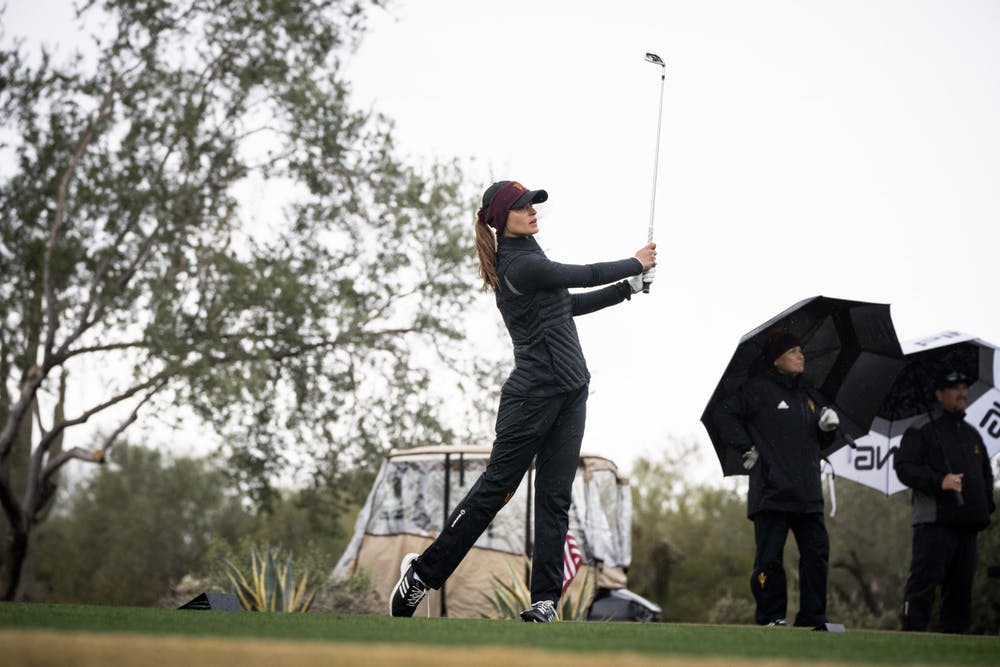 ASU women's golf junior Alessandra Fanali watches her shot