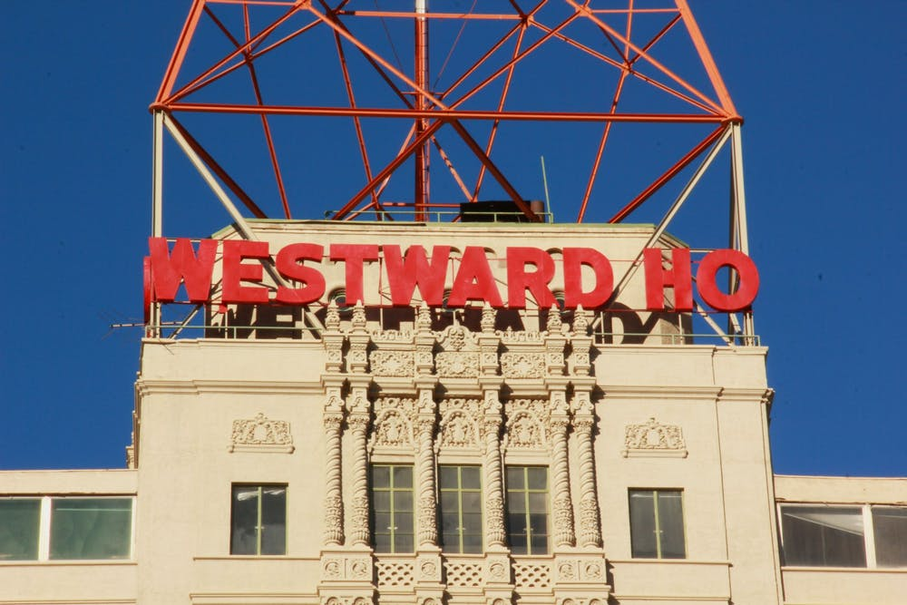 "The sign on top of the Westward Ho, which reads ""Westward Ho"" is shown."