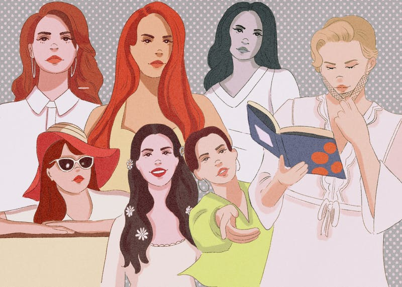 Illustration of Lana Del Rey, who has a history of problematic glamorization of abuse.