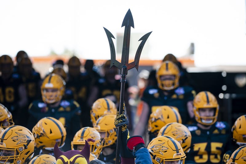 Sparky holds up the pitchfork as ASU prepares to take the field before the Sun Bowl on Tuesday, Dec. 31, 2019, at Sun Bowl Stadium in El Paso, Texas.