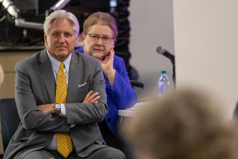 Regent Fred DuVal listens to an audience member speak at the Arizona Board of Regents meeting on Friday, Feb. 14, 2020, at Hayden Library on the Tempe campus.