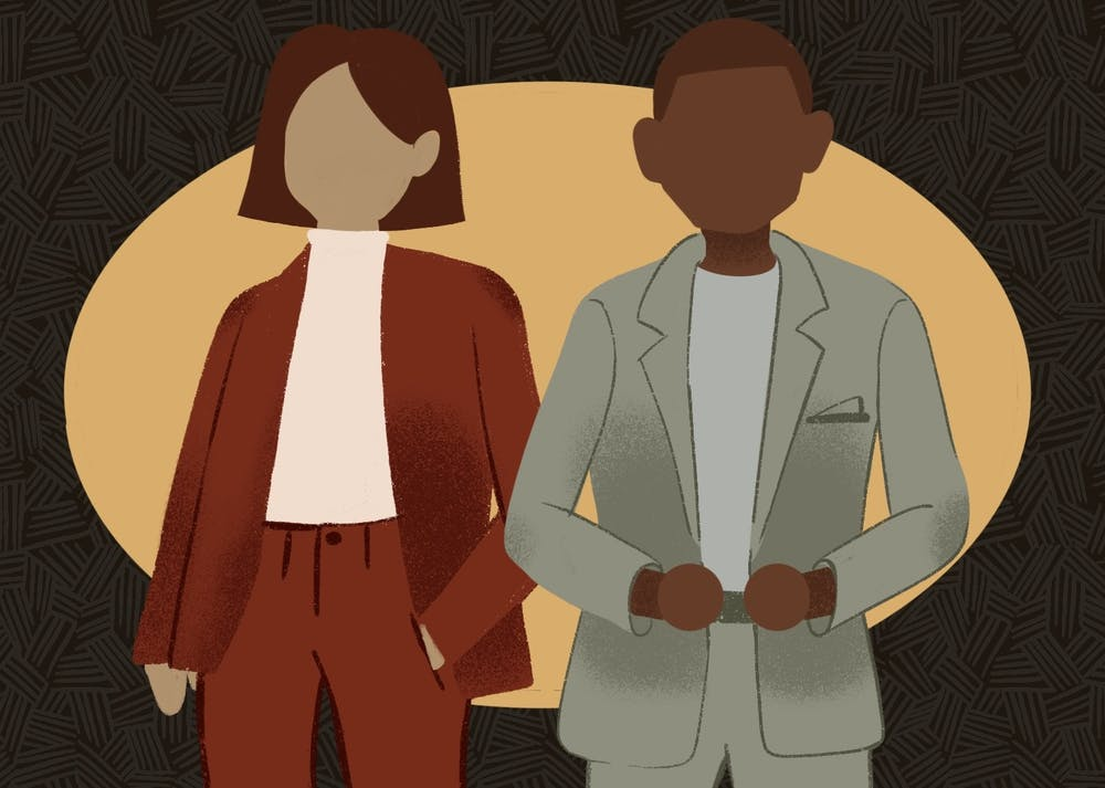 An illustration of two students wearing professional clothes.